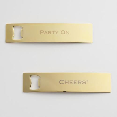 Gold Cheers and Party On Bottle Openers Set of 2