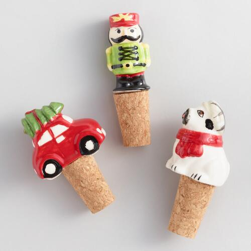 Holiday Novelty Wine Stoppers Set of 3