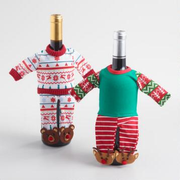 Holiday Pajamas Wine Bottle Outfits Set of 2