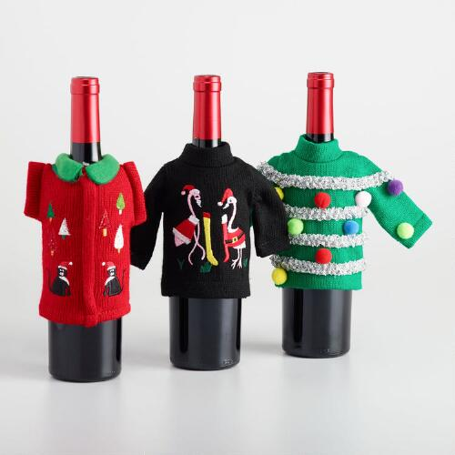 Ugly Sweater Wine Bottle Outfits Set of 3