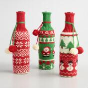 Holiday Sweater Wine Bottle Covers Set of 3
