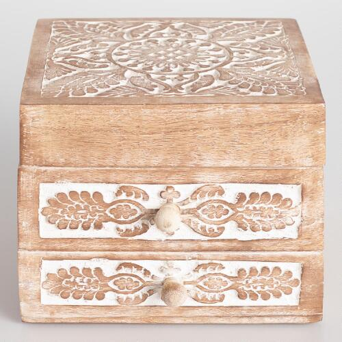 Whitewash Carved Annabelle Jewelry Box