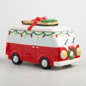 Retro Holiday Van Ceramic Cookie Jar