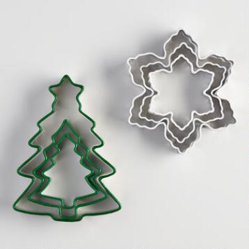 Snowflake and Tree 3 Piece Cookie Cutters Set of 2