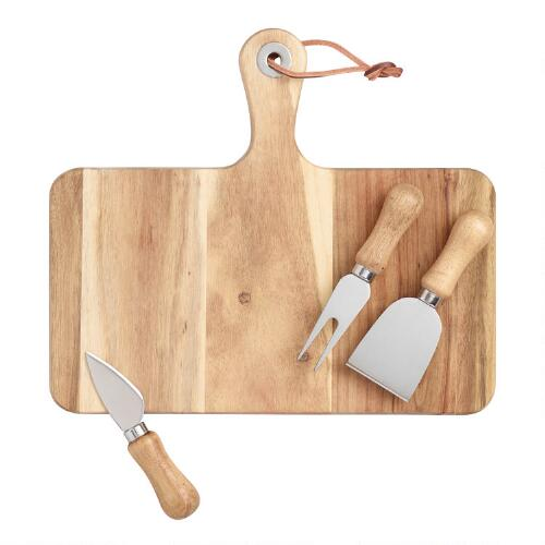 Cheese Knives and Cutting Board 4 Piece Set