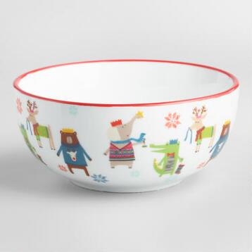 Kids' Christmas Animal Bowls Set of 4