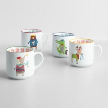 Kids' Christmas Animal Mugs Set of 4