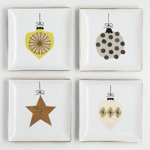 Metallic Ornament Square Plates Set of 4