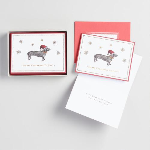 Weiner Dog Boxed Holiday Cards Set of 10