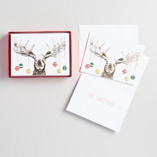 Moose Antlers Holiday Cards Set of 15