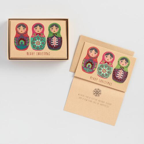 Russian Dolls Holiday Cards Set of 15