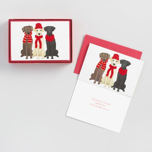 Three Dogs Holiday Cards Set of 15