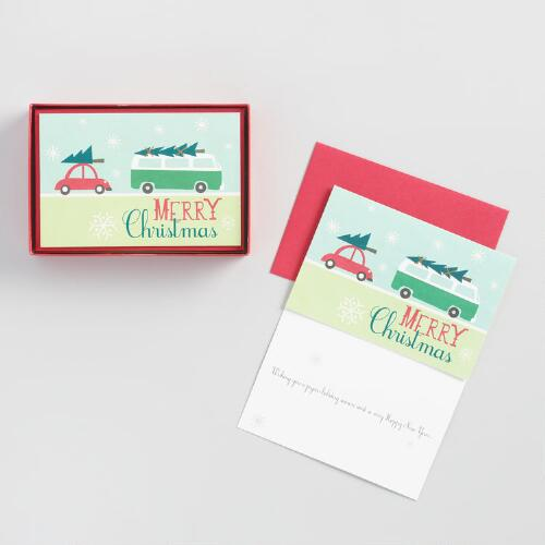 Christmas Car Holiday Cards Set of 15