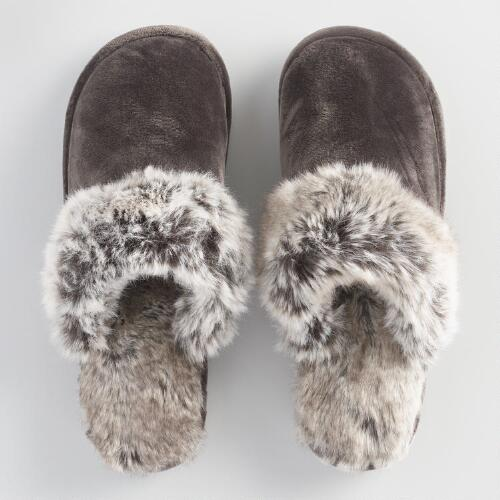 Faux Fur Dark Brown  Slippers
