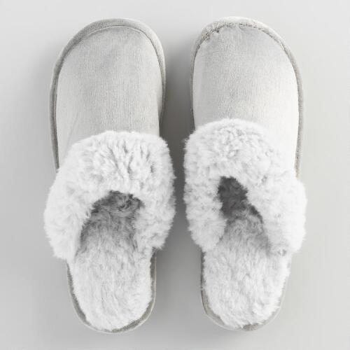 Faux Fur Gray Sherpa Slippers