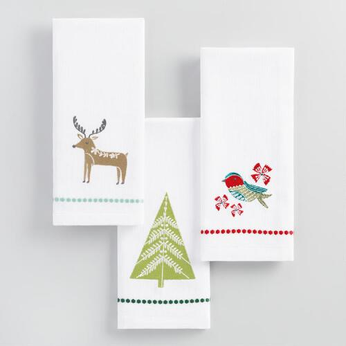 Holiday Embroidered Hand Towels Set of 3