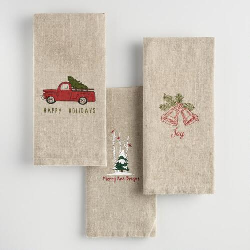 Holiday Linen Hand Towels Set of 3