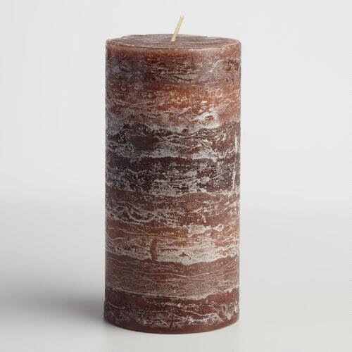 "3"" x 6"" Brown Cinnamon Stick Pillar Candle"