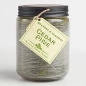 Green Cedar Pine Filled Jar Candle
