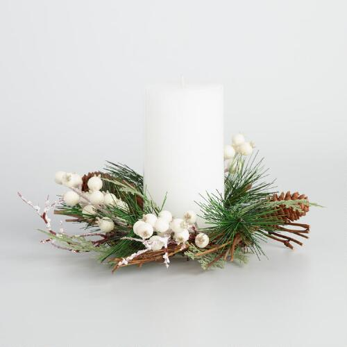 Ivory Berry Christmas Candle Ring