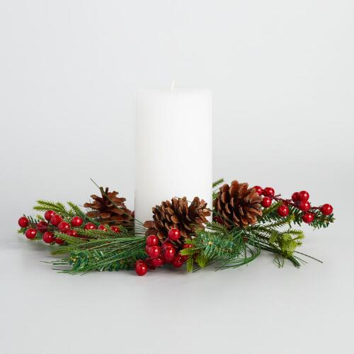 Red Berry Christmas Candle Ring