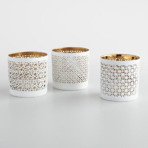 White and Gold Cutout Ceramic Tealight Holders Set of 3