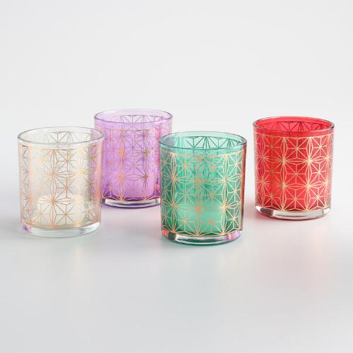Gold Snowflake Tealight Candleholders Set of 4