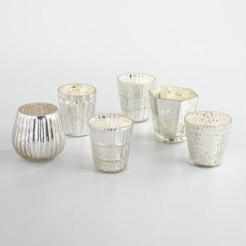 Silver Mercury Glass Votive Candleholders Set of 6