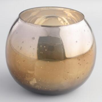 Gold Round Mercury Glass Tealight Candleholder