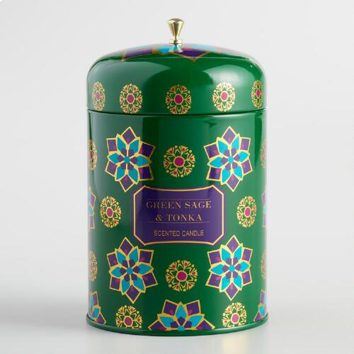 Green Sage and Tonka Global Gatherings Candle Tin