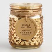 Spiced Vanilla Gold Mercury Glass Hobnail Jar Candle