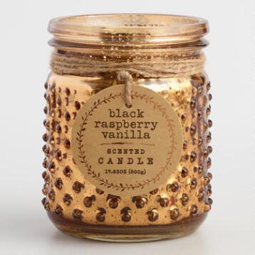 Raspberry Vanilla Copper Mercury Glass Hobnail Jar Candle