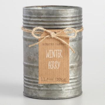 Winter Berry Antiqued Candle Tin