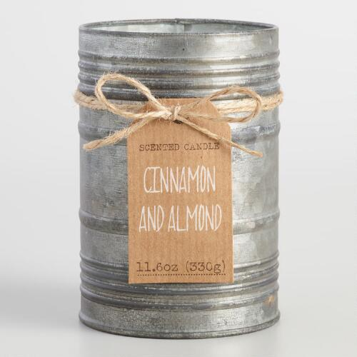 Cinnamon and Almond Antiqued Candle Tin