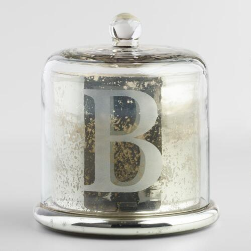 Etched B Mercury Glass Filled Candle with Cloche