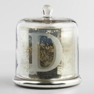 Etched D Mercury Glass Filled Candle with Cloche