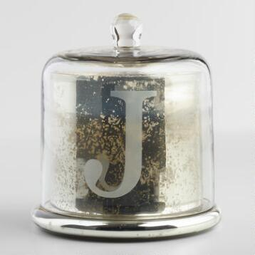 Etched J Mercury Glass Filled Candle with Cloche
