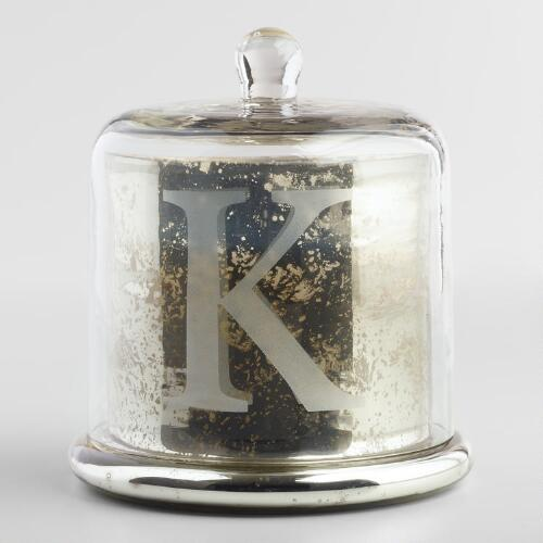 Etched K Mercury Glass Filled Candle with Cloche