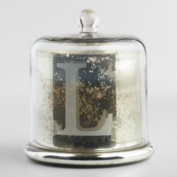 Etched L Mercury Glass Filled Candle with Cloche