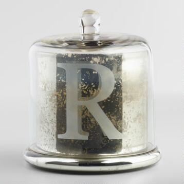 Etched R Mercury Glass Filled Candle with Cloche