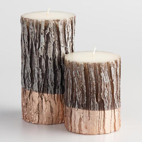 Gold Dipped Cedar Candle