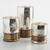 Silver Mercury Glass Hurricane Candleholder with Brass Band