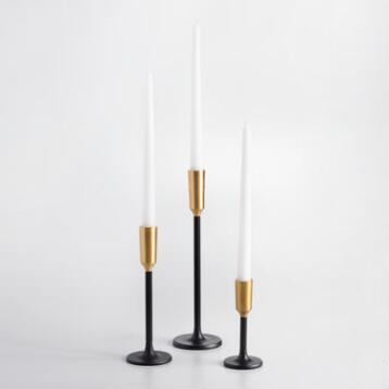 Black Metal Taper Candleholder with Gold Tip