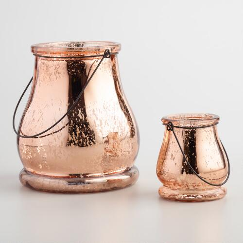 Rose Gold Mercury Glass Teardrop Lantern