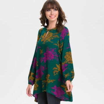Mustard and Fuchsia Floral Tunic