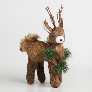 Natural Fiber Deer with Wreath