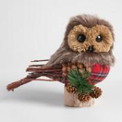 Faux Fur and Plaid Owl