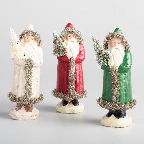 Paper Pulp Santas with Tinsel Set of 3