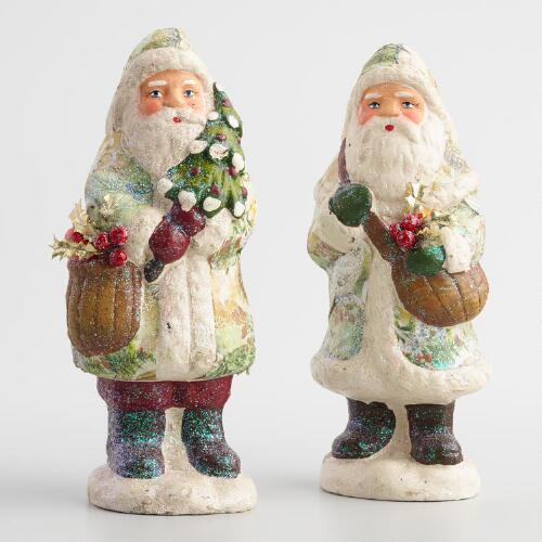 Vintage Inspired Print Paper Pulp Santas Set of 2