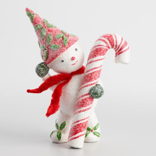 Paper Pulp Snowman with Candy Cane